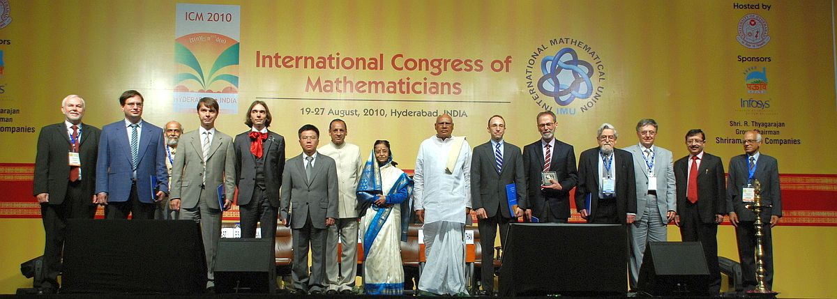 IMU Prize winners with Honourable President of India, Chief Minister of Andhra Pradesh and ICM 2010 officials