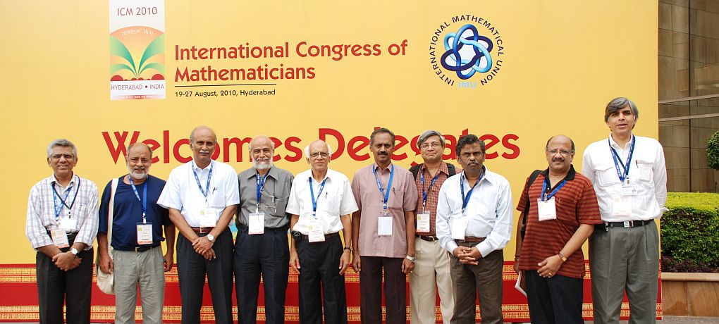 A group photo of the ICM2010 Executive Organizing Committee members taken during ICM2010 at HICC, Hyderabad